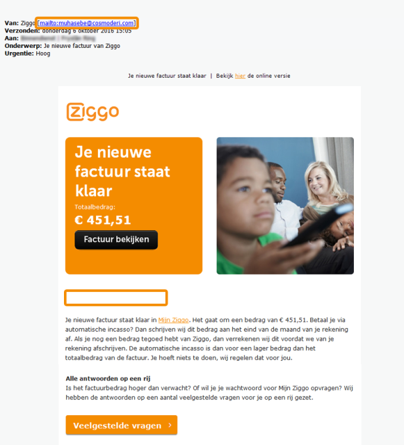 Example of Ziggo phishing e-mail